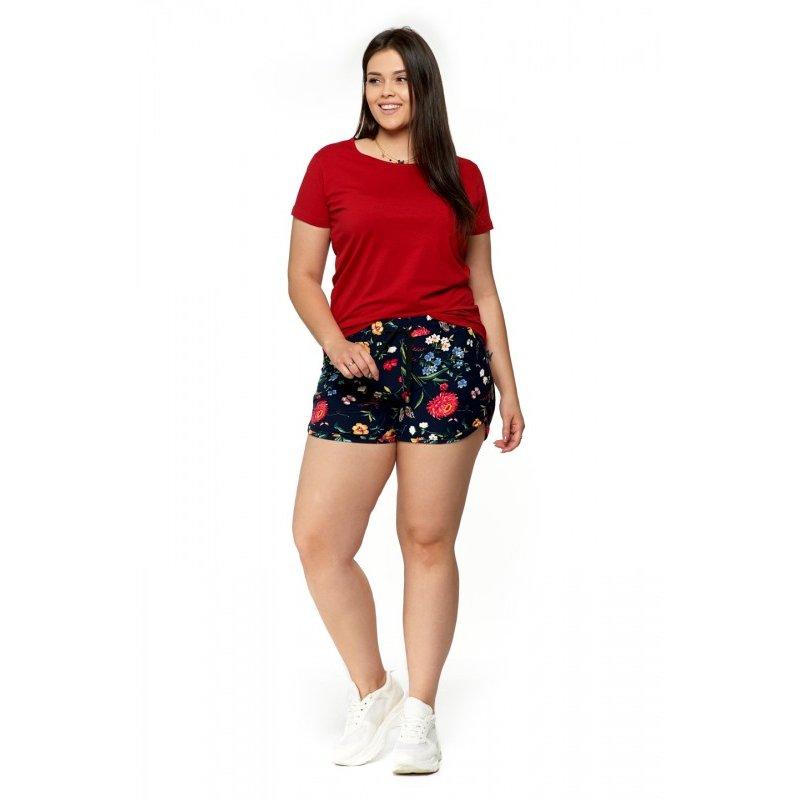 Czerwona Koszulka Damska Krótki Rękaw BD900-420 Bluzka na Lato Koszulka Moraj Koszula Damska Gładka Koszulka z Krótkim Rękawem