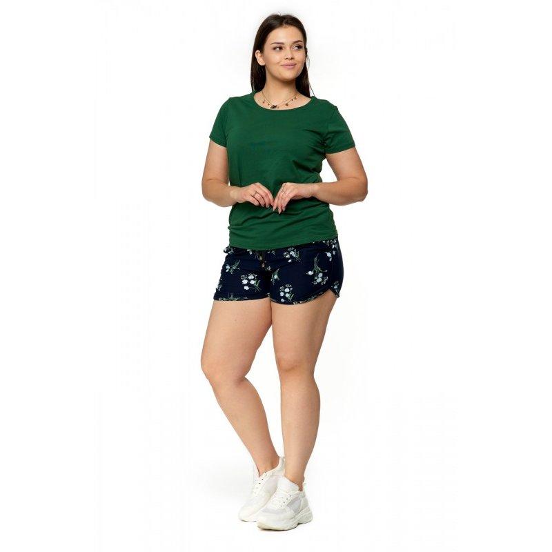 Zielona Koszulka Damska Krótki Rękaw BD900-420 Bluzka na Lato Koszulka Moraj Koszula Damska Gładka Koszulka Zieleń Butelkowa