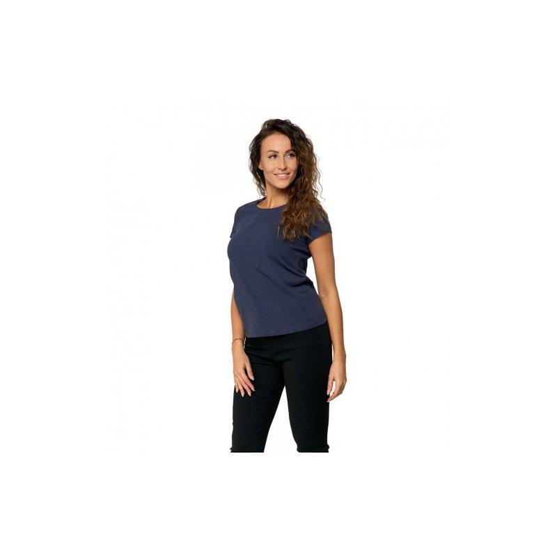 Granatowa Koszulka Damska Krótki Rękaw BD900-420 Bluzka na Lato Koszulka Moraj Koszula Damska Gładka Koszulka z Krótkim Rękawem