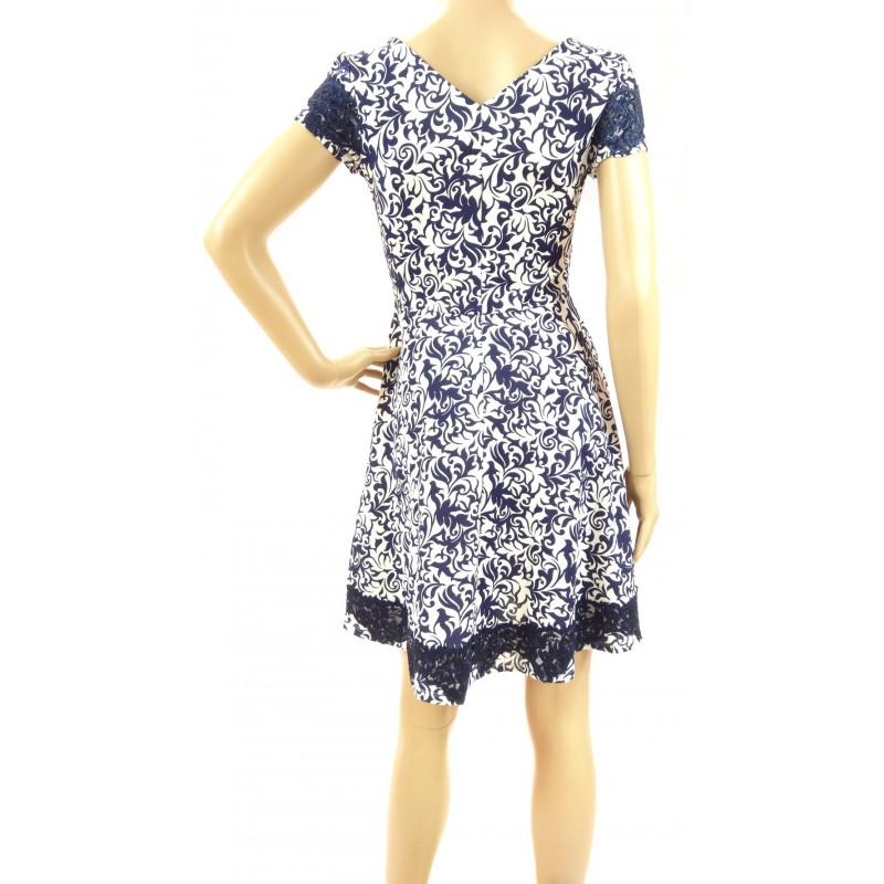 Sukienka wzorzysta z koronką (granatowa)