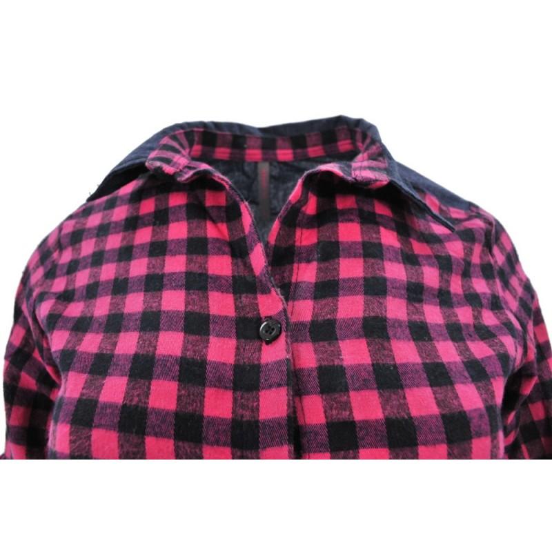 Flanelowa koszula damska w kratę (jeans + róż1)