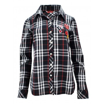 Koszula w kratę z aplikacjami 1 (czarna)