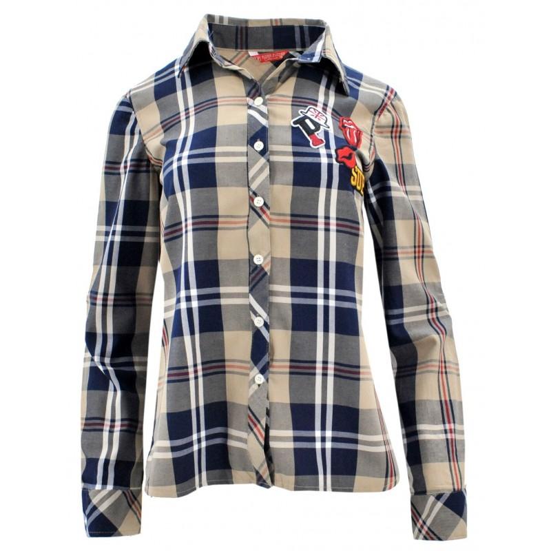 Koszula w kratę z aplikacjami 1 (beżowa)