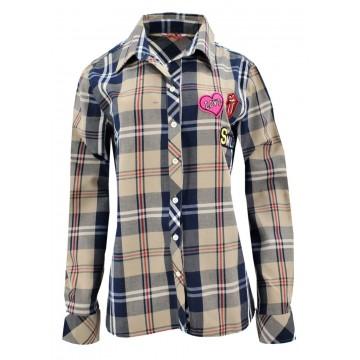 Koszula w kratę z aplikacjami 2 (beżowa)