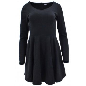 Sukienka rozkloszowana z dzianiny (czarna)