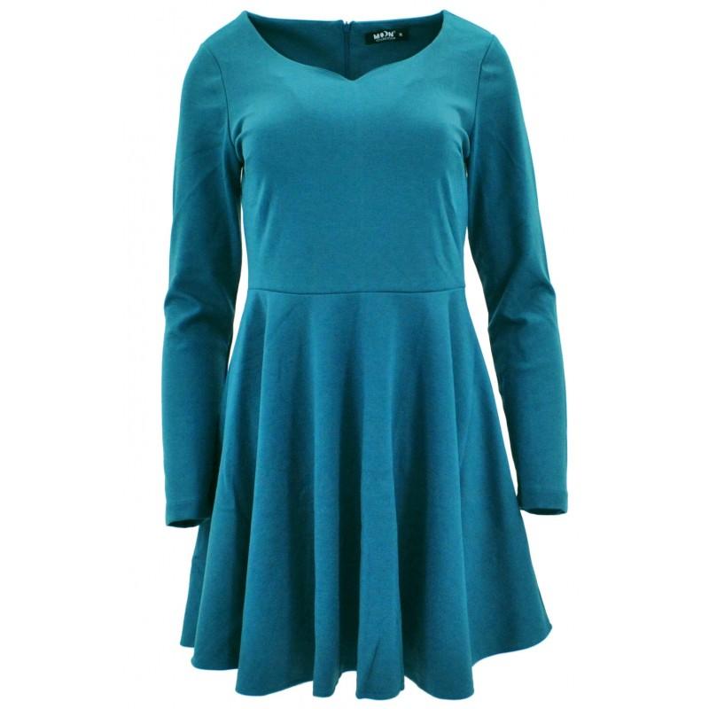 Sukienka rozkloszowana z dzianiny (turkusowa)