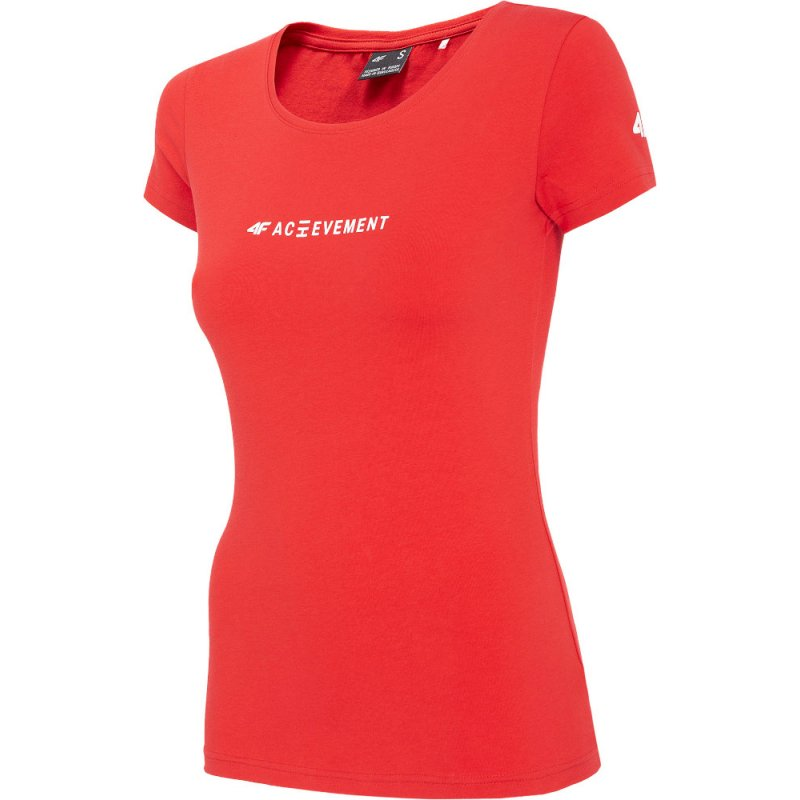 Czerwona koszulka damska 4F H4Z20 TSD020 T-shirt damski 4F Koszulka damska bawełniana Koszulka damska z bawełny Bluzka 4F