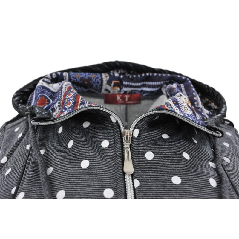 Bluza  w kropki asymetryczna (c.szara)