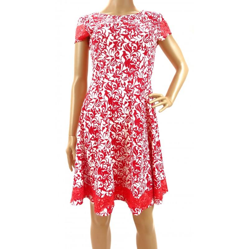 Sukienka wzorzysta z koronką (czerwona)