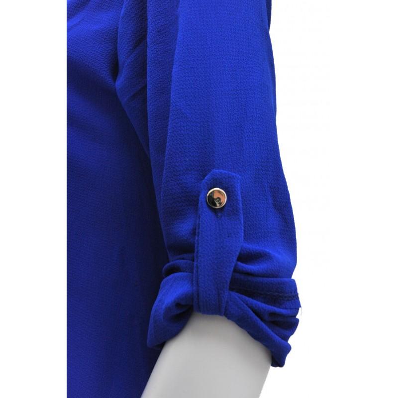Długa szyfonowa tunika oversize (szafirowa)