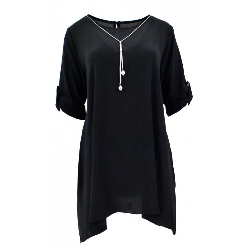 Długa szyfonowa tunika oversize (czarna)