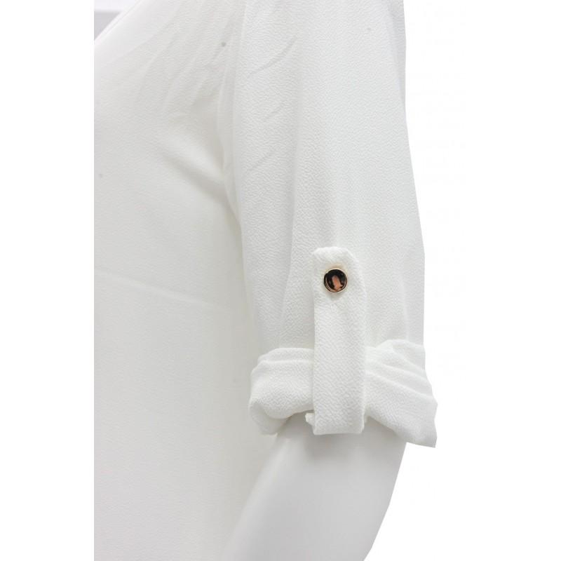 Długa szyfonowa tunika oversize (ecru)