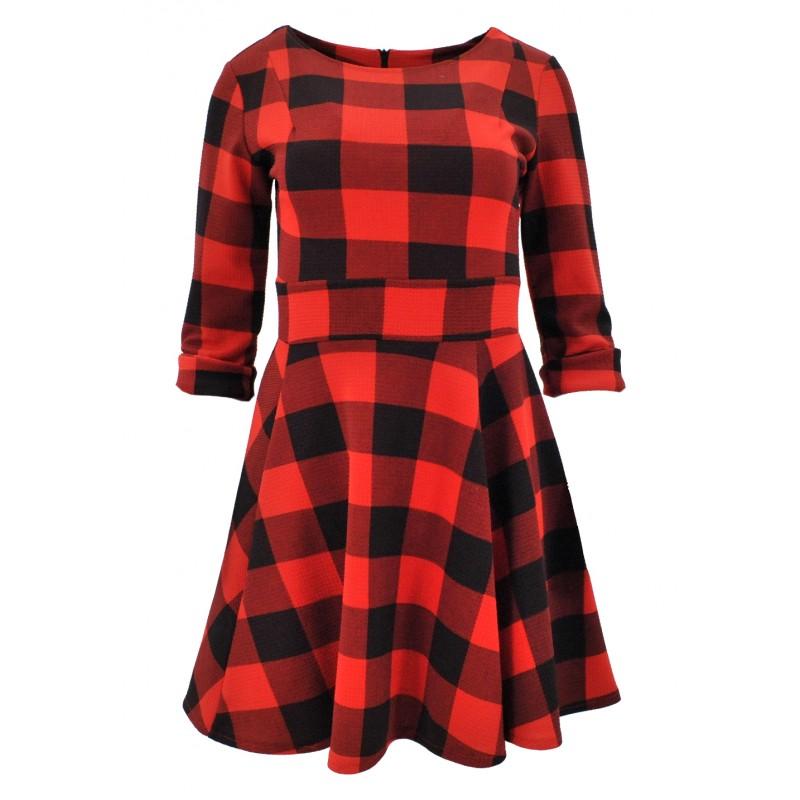 Sukienka rozkloszowana w kratkę (czerwona)