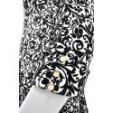 Sukienka rozkloszowana wytłaczane kwiaty (biało-czarna)