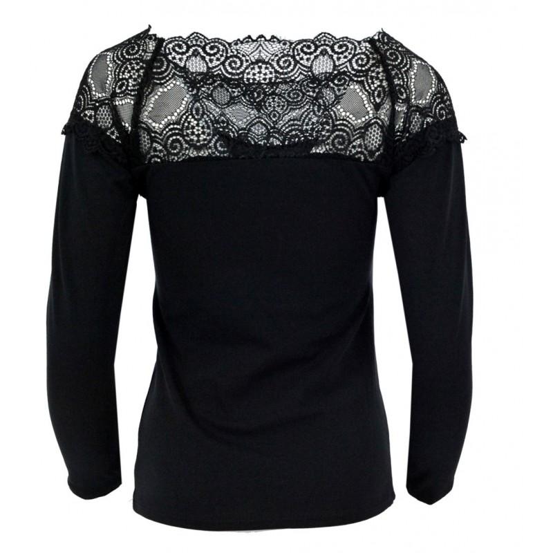 Czarna bluzka z koronkowym dekoltem