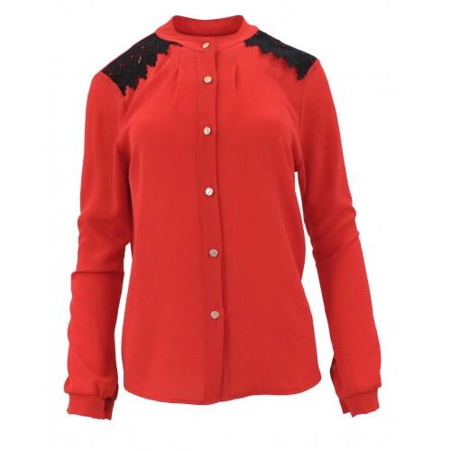 Bluzka szyfonowa z koronką na ramionach (czerwona)