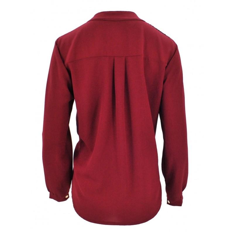 Bluzka szyfonowa z koronką na ramionach (bordowa)