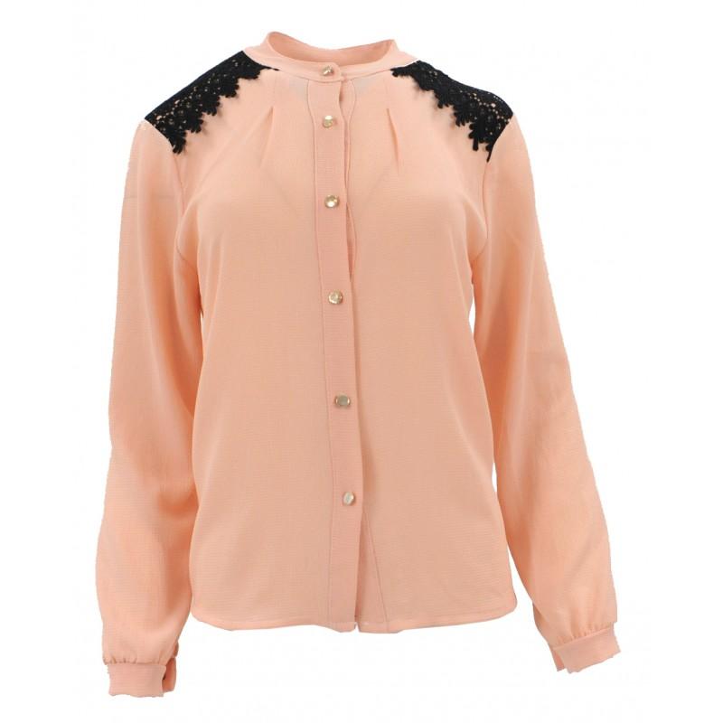 Bluzka szyfonowa z koronką na ramionach (łososiowa)