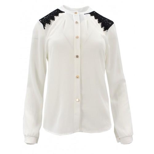 Bluzka szyfonowa z koronką na ramionach (biała)