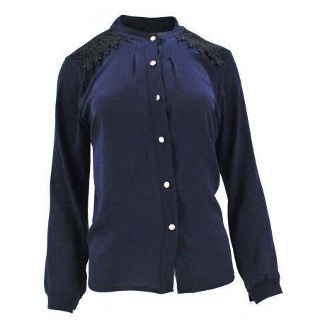 Bluzka szyfonowa z koronką na ramionach (granatowa)
