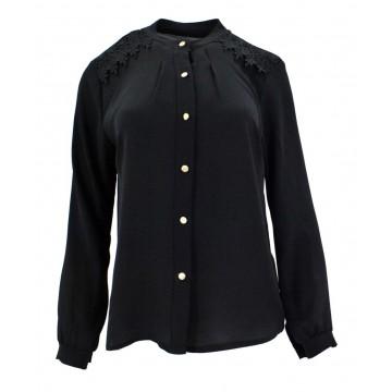 Bluzka szyfonowa z koronką na ramionach (czarna)