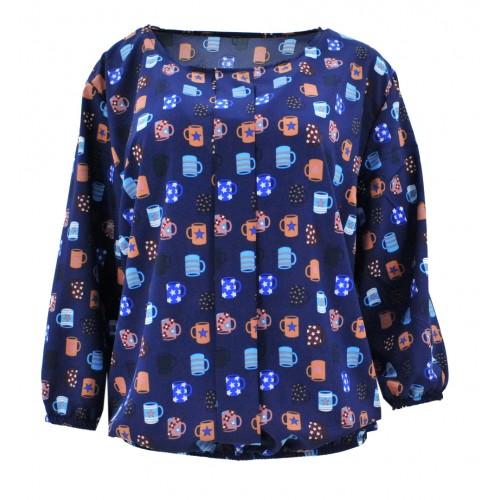 Bluzka szyfonowa w kubki (granatowa)