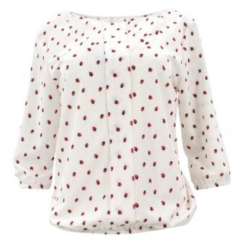 Bluzka szyfonowa w truskawki (biała)