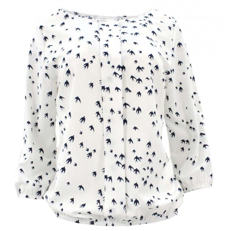Bluzka szyfonowa  w jaskółki (biała)