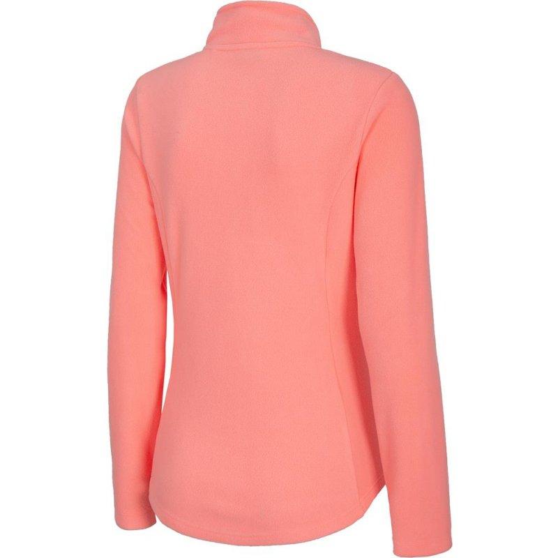 Damska bluza polarowa 4F - NOSH4 PLD001 - koral neon polar damski 4F Bluza damska polarowa Bluza damska bez kaptura