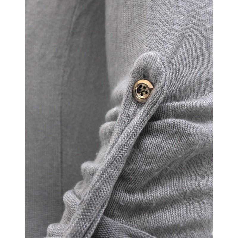 Cienki kardigan z koronką na plecach (szary)