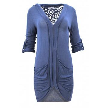 Cienki kardigan z koronką na plecach (niebieski)