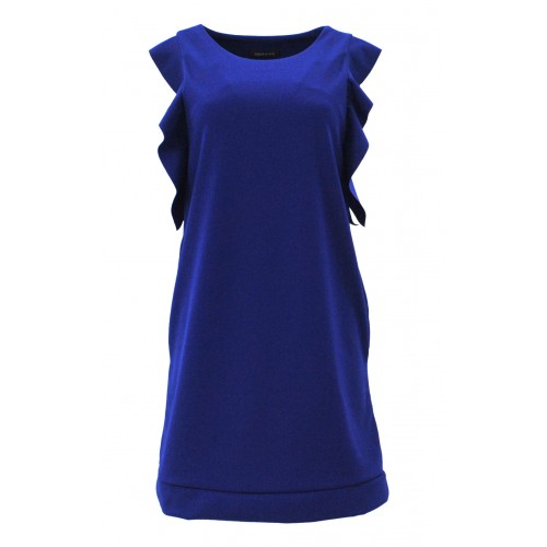 Sukienka z falbanami na ramionach (szafir)
