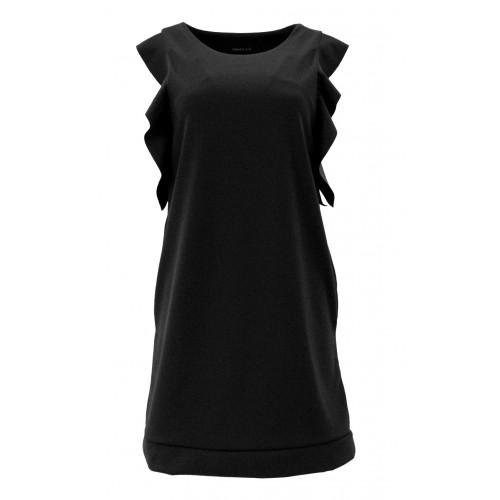 Sukienka z falbanami na ramionach (czarna)