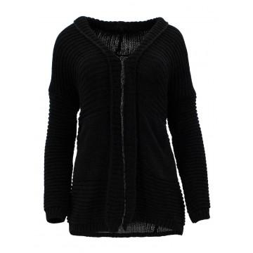 Sweter z kieszeniami z przodu (czarny)