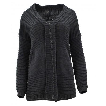 Sweter z kieszeniami z przodu (szary)