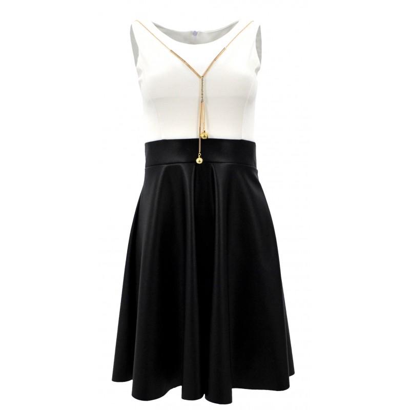 Sukienka rozkloszowana ekoskóra (biało-czarna)