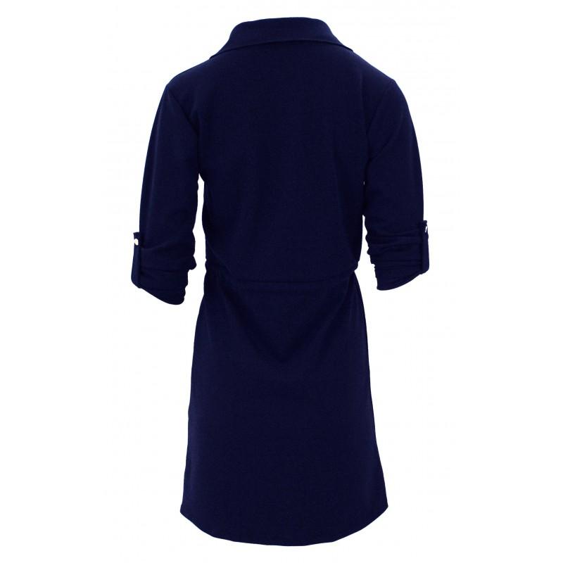 Sukienka z ozdobnymi klapami (granatowa)