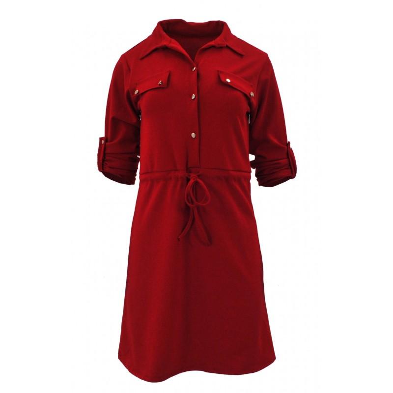 Sukienka z ozdobnymi klapami (czerwona)