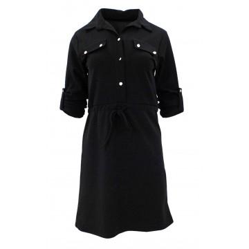 Sukienka z ozdobnymi klapami (czarna)
