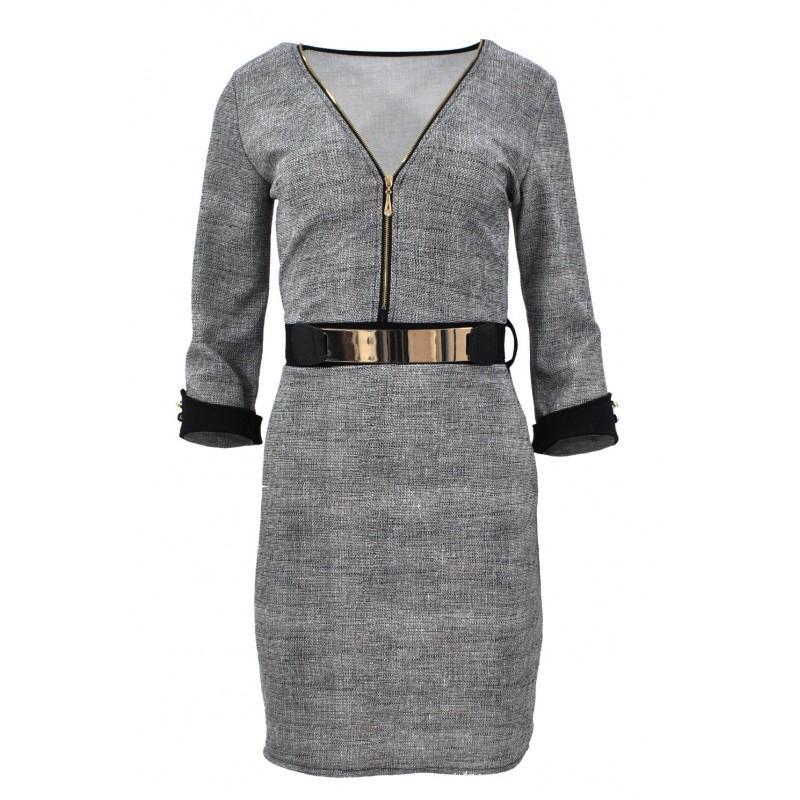 Sukienka z ozdobnym paskiem na zamek (szara)