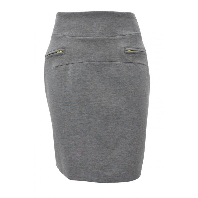 d1cb70c730 Spódnica z dzianiny z zamkami (szara)