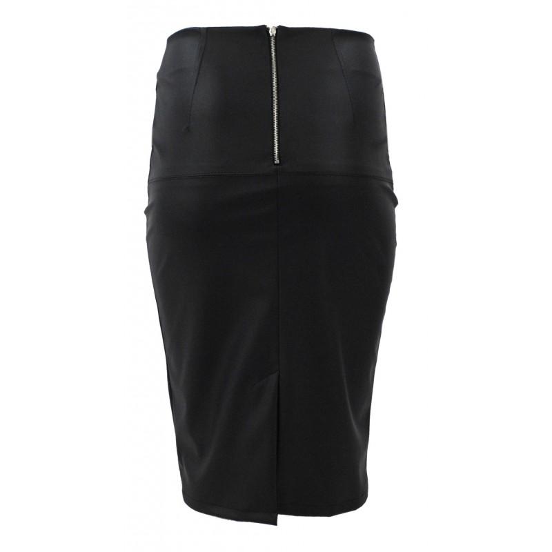 Długa spódnica ołówkowa z ekoskóry(czarna)