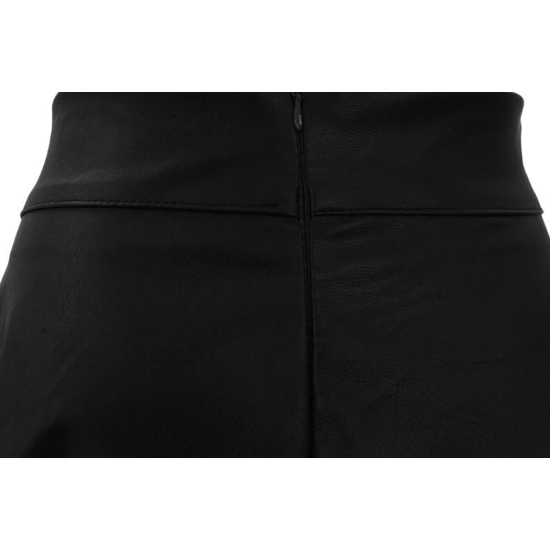Spódnica rozkloszowana z ekoskóry (czarna)