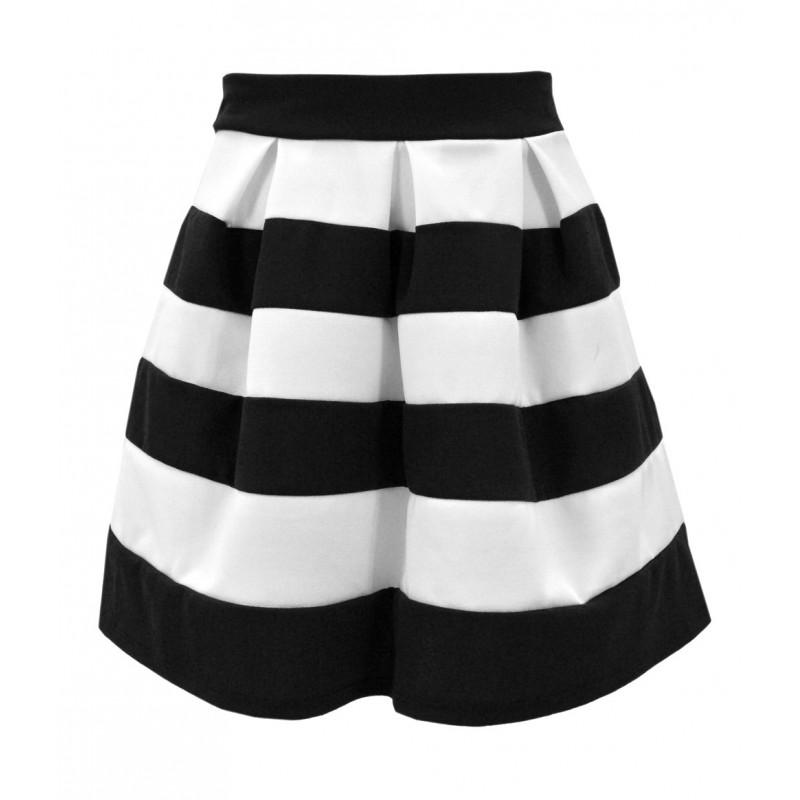 Spódnica rozkloszowana w biało czarne pasy