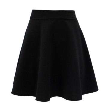 Spódnica rozkloszowana z gofrowanej tkaniny (czarna)