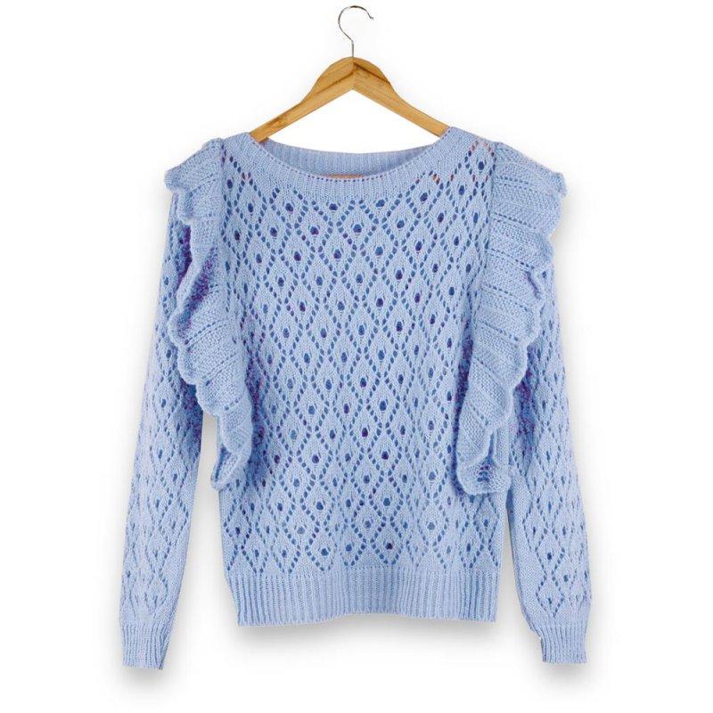 Ażurowy Sweter Damski z falbanką - niebieski