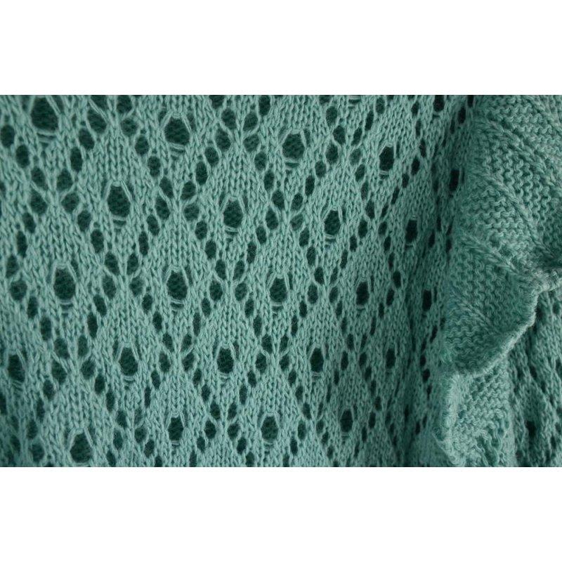 Ażurowy Sweter Damski z falbanką - morski