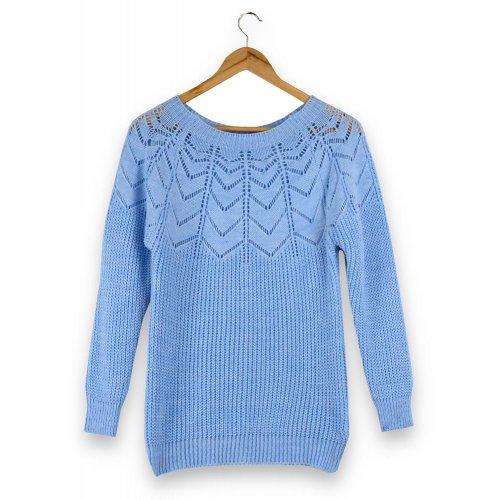Ażurowy Sweter Damski - niebieski