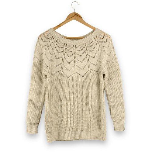 Ażurowy Sweter Damski - beżowy