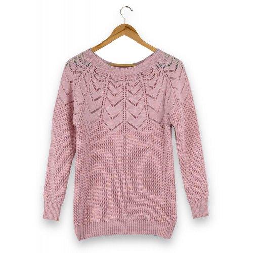Ażurowy Sweter Damski - różowy